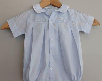 vintage Feltiman Bros Baby Blue Embroidered Train Romper Infant Onesie Size 3 M