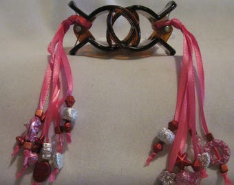 Hair Clips with Ribbons and Beads....set of 2....hand made...brown / pink