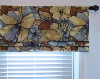 Contemporary Floral Faux Roman Shade  Lined  Valance/ Custom Sizing Available!