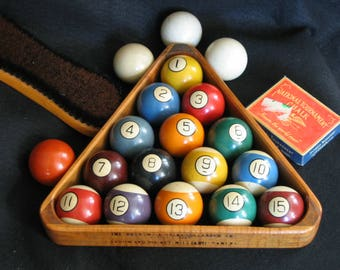 Complete Antique Billiard and Pool Ball Set with Rack, Calk and Table Brush - Circa 1900