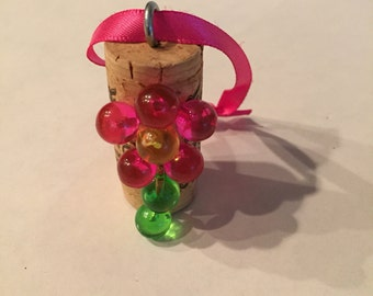 Pink Flower Cork Ornament