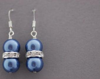 SPRING SALE, Blue Pearl Earrings, Dark Blue Glass Pearl and Rhinestone Beaded Earrings, Gift for Her, UK Seller
