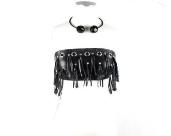 DOLCE & GABBANA LEATHER Fringed Bustier  Crop Top With Fringe and Grometts  Size 42 Deadstock Tags