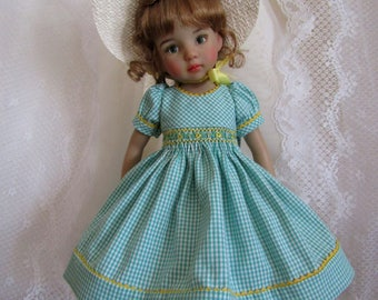 "Smocked Dress Ensemble for 13"" Little Darling Doll-Green Vintage Gingham-Juried Stitchery Artist-Free US Ship"