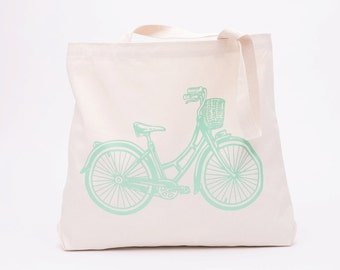 Cruiser Bicycle Tote Bag - Canvas Tote Bag - Screen Printed Cotton Grocery Bag - Large Canvas Shopper