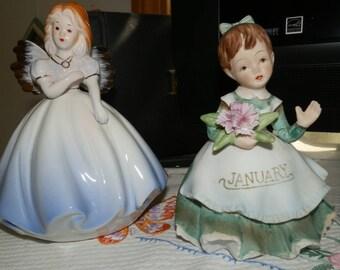 Two Vintage Figures: Josef Originals - Blue Angel/Fairy & Lefton-January