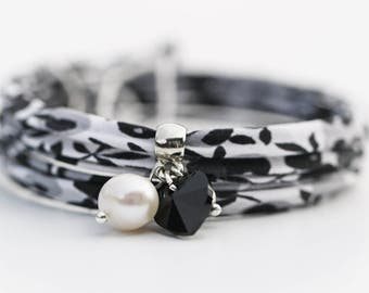 Black & White Liberty of London and Swarovski Wrap Bracelet Mother's Day Birthday