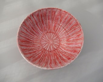 Red Bowl - Ceramic Carved Bowl - Red Serving Bowl