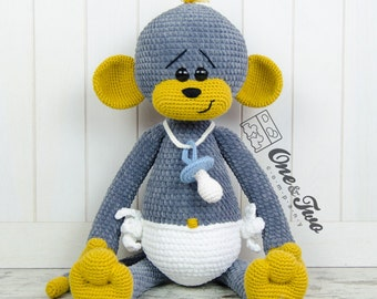 "Morris the Big Baby Monkey ""Big Hugs Series"" Amigurumi - PDF Crochet Pattern - Instant Download - Amigurumi Cuddy Stuff"