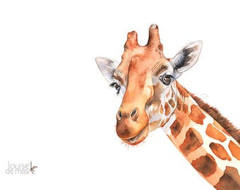 Giraffe print of watercolor painting. G21717, A4 size, Giraffe watercolor painting print, African animal print, wildlife art