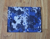 TWELVE Cloth Napkins--Kid Size--Blue Pixel Camo and Green Camo