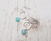sea blue chalcedony drops off hammered sterling silver circles, drop earrings, ildiko jewelry