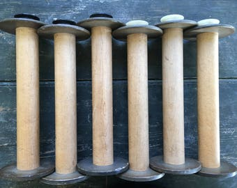 Industrial spools old textile mill rustic farmhouse shabby distressed wood salvage Americana factory spools
