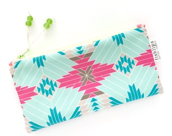 Tribal Aztec Recycled Zipper Pouch, Hot Pink Eco Pencil Bag + Glass Bead Tassel, Handmade Make Up Case, Geometric Clutch Bag, Gift For Her