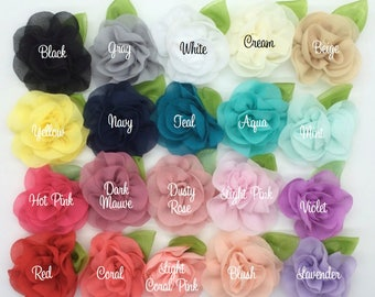 "Mini Camellia Flower with leaf (6 pcs) - Small 2.5""  Fabric flower - YOU PICK COLORS -  flower embellishment   applique accent flower"