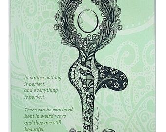 YOGA Card TREE Pose - 5x7 from Original Ink Drawing, Home Decor, Yoga Studio Decor