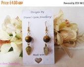 On sale Tigers eye, autumn leaf, earrings, #169 UK SELLER