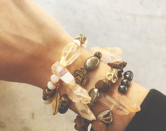 The Wanderer Bracelet // Tigers Eye + Dusty Peach Quartz // Jewelry // XS~S