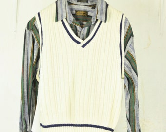 Mens Sweater Vest L Cable Knit V-Neck OffWhite Vintage 1980's Preppy Menswear Easy Care Acrylic Unisex Sweaters