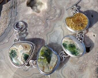 Ocean Jasper Wavelite Ammonite Multi Stone Sterling Silver Bracelet or Necklace