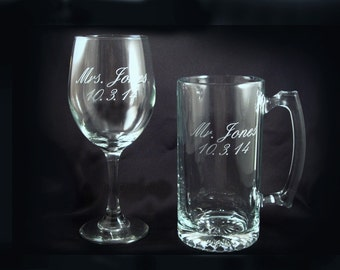 Custom Personalized Wine and Beer Glasses - Bride and Groom - Mr and Mrs Gift - Wedding Toasting Glasses - Bridal Shower Gift - Etched Glass