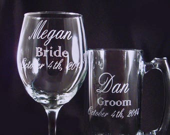 Personalized Custom Glassware - Bar Glasses - Wine and Beer Mug Set - Gift for the Bride and Groom - Anniversary Gift - Etched Beer Mug