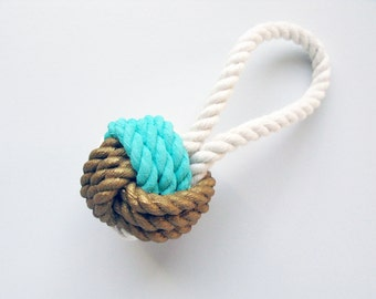 ORNAMENT - Aqua & Gold Painted Monkey's Fist Knot