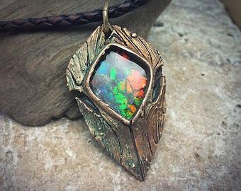 Rainbow Ammolite and Bronze PMC Necklace.