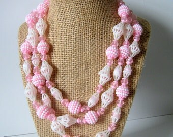 Vintage Multi Strand Necklace, Pink and White Plastic Beads