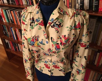 OLD WEST COOL-- Handmade Blouse with 1930s fabric and 1930s Pattern--S, M