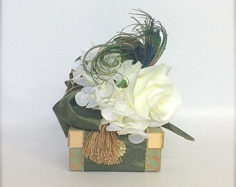 Sage Green Gold Gift Box Jewelry  Gift Boxes Wedding Favor Box Jewelry Box Pre-wrapped Box Bridesmaid gift Elegant, Romantic, Rhinestone