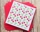 Cherry Mini Cards // Blank Cards // Fruit Cards // Love Notes // Enclosure Cards // Patterned Cards // Square Cards
