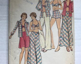 Vintage 70s Butterick 3728 Sewing Pattern / Misses Bra Top, Shirt, Skirt, Pants and Shorts Vintage Sewing Pattern Size 12 Bust 34
