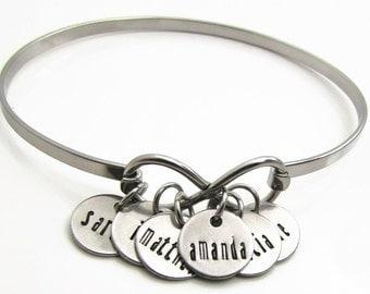 Personalized Bracelet - Personalized Mom Jewelry - Hand Stamped Jewelry - Personalized Name Bracelet Personalized Infinity Bracelet for Mom