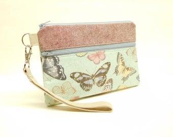 butterfly smartphone wristlet, butterfly smartphone wallet, blue padded iphone wristlet, butterfly iphone wallet, butterfly iphone wristlet