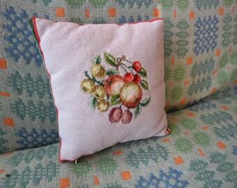 Pretty needlepoint wool velvet cushion apple fruit green