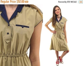 On Sale - Vintage 70s Khaki Dress, Shirt Waist Dress, Boho Dress, Vintage 70s Dress Δ size: xs / sm