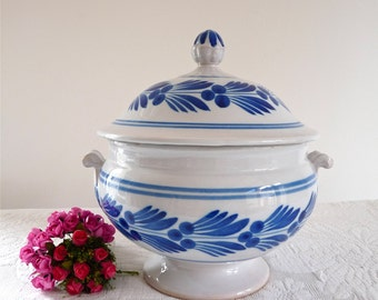 20th century French Antique Tureen - Gorgeous White French Vintage Tureen - K&G Luneville - french Ironstone