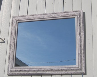 Ornate Shabby Chic Vintage Framed Mirror - French Farmhouse Distressed Petal Pink - Recycled Mirror