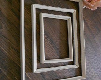 Shabby Chic Set of 3 Empty Frames - Vintage Wood in Antique White - Rustic Coastal Cottage Display Frames - Photo Styling Props