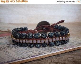 ON SALE Boho Chic Bracelet - Bohemian Jewelry - Boho Hippie - Rhinestone Leather Bracelet