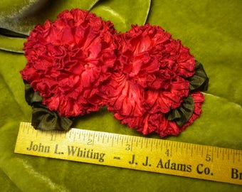 Double Red Roses Miniature Ribbon Flowers Applique