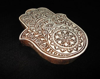 Hand motif pottery stamp/hand carved Indian block printing stamp/tjap/ wooden block for printing/ paper and fabric printing stamp