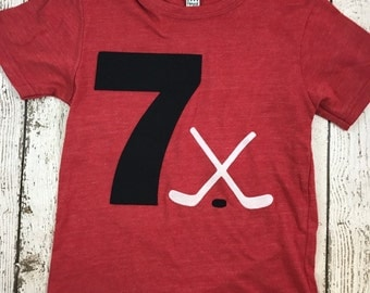 Hockey shirt Boy's Birthday Shirt ice hockey puck Birthday Organic Blend Tee for any age