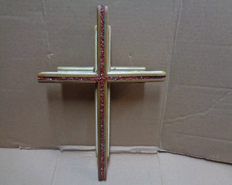Reclaimed Barn wood layered double Wooden Cross with red jasper gemstone