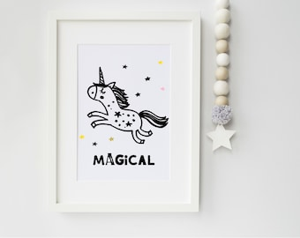 Unicorn Art Print, art print, nursery print, children's bedroom, scandinavian art, scandi, unicorn, ideal gift new parents