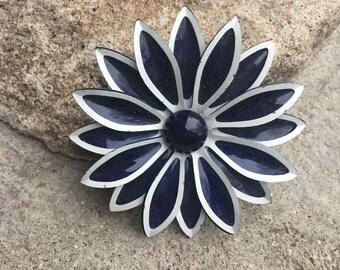 Vintage Enamel Flower Pin Blue and White Enamel Flower Pin Beautiful Spring Summer Pin