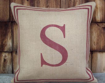 Letter Pillow Cover, Classic Monogram Pillow with Border, Initial Pillow, Decorative Pillow, Burlap Pillow, Custom Personalized Pillow Cover