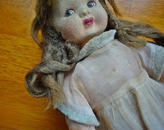 Vintage Doll, Interesting Vintage Italian? Cloth Doll,Lovely Vintage Felt faced Doll, Chad Valley Style, Beautiful Face, Paper Maché Doll