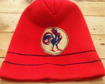 French Le Coq Sportif 1970s Vintage Men Red Winter Knit Beanie Ski Hat & Logo - Tricolor Old School Style - New/Old Stock